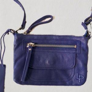 Blue Leather Cross Body Bag Clutch